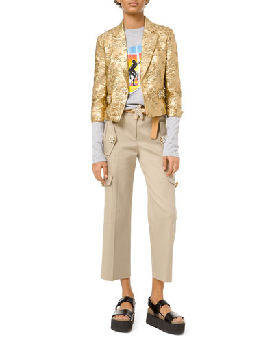 Floral Metallic-Jacquard Embroidered Jacket and Matching Items