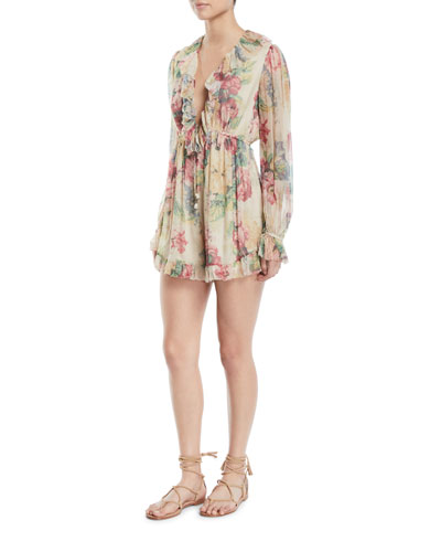 Melody Floating Floral-Print Ruffle Long-Sleeve Romper