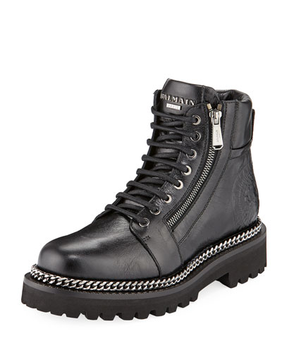 Tri-Buckle Leather Army Boot