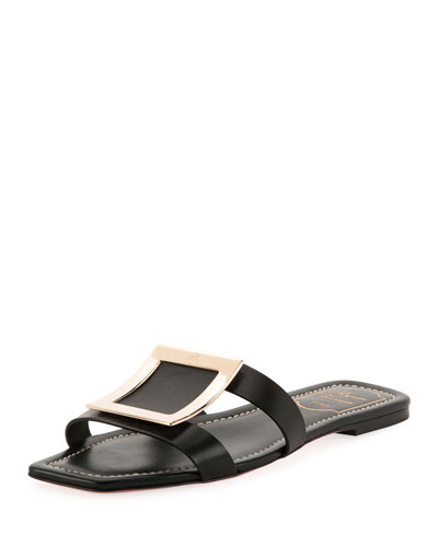 6953de762225d7 Leather Mules with Metal Buckles