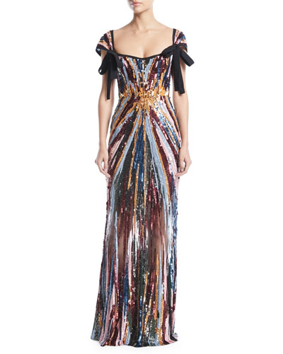 Cap-Sleeve Square-Neck Sequined-Embroidered Evening Gown