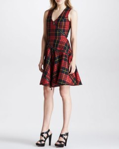 McQ Alexander McQueen Bias Zip Fit and Flare Plaid Dress