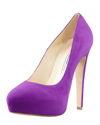 image of purple platform pumps in radiant orchid