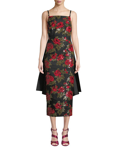 Chine Floral-Embroidered Cocktail Dress w/ Train