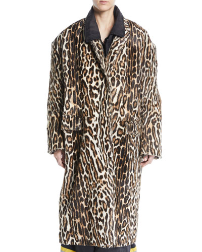 Single-Breasted Oversized Leopard-Print Suede Coat