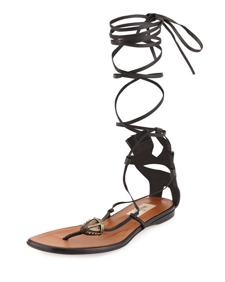 Valentino Mask-Detail Flat Lace-Up Sandal, Brown/Black ...