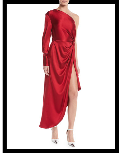One-Shoulder Long-Sleeve Silk Pajama Gown w/ Piping