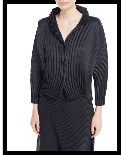Circle Pleated Button-Front Jacket
