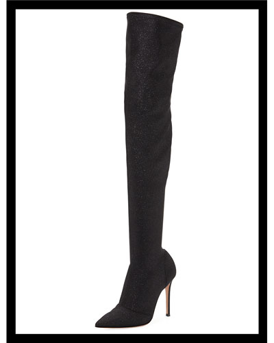 Glitter Stretch Over-The-Knee Boot