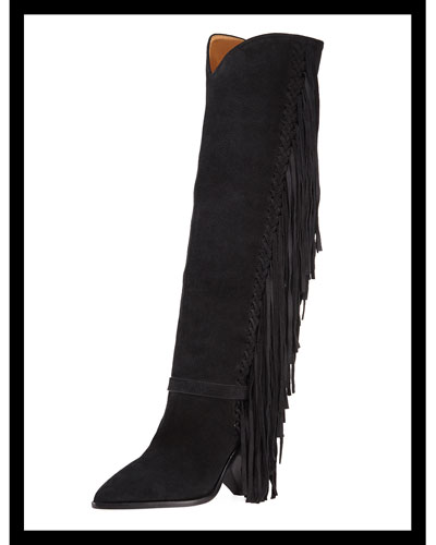 Lenston Tall Knee Boots with Fringe