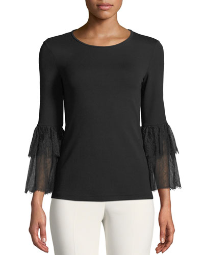 Lace-Bell-Sleeve Stretch Matte Jersey Top