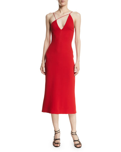 Karina Stretch-Cady Slip Dress with Asymmetric Straps