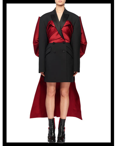 Double-Breasted Blazer Mini Cocktail Dress w/ Large Satin Bow