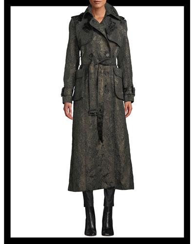 Double-Breasted Belted Metallic Brocade Trench Coat