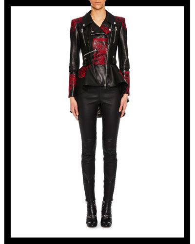 Zip-Front Embroidered Peplum Leather Jacket