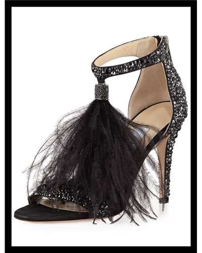 Viola Crystal Suede Sandal with Feather