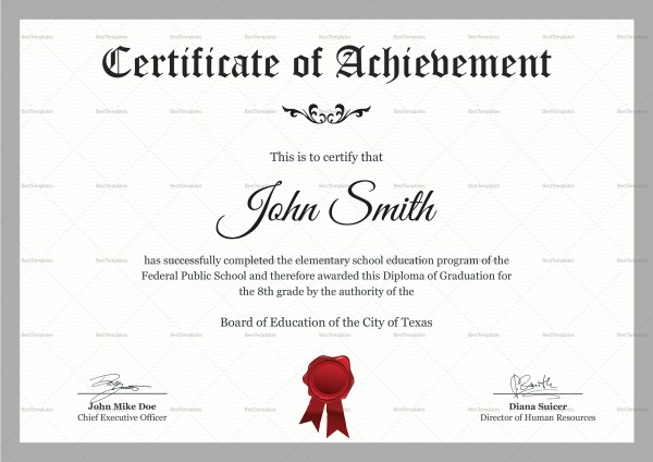 Elementary School Certificate Design Template in PSD, Word