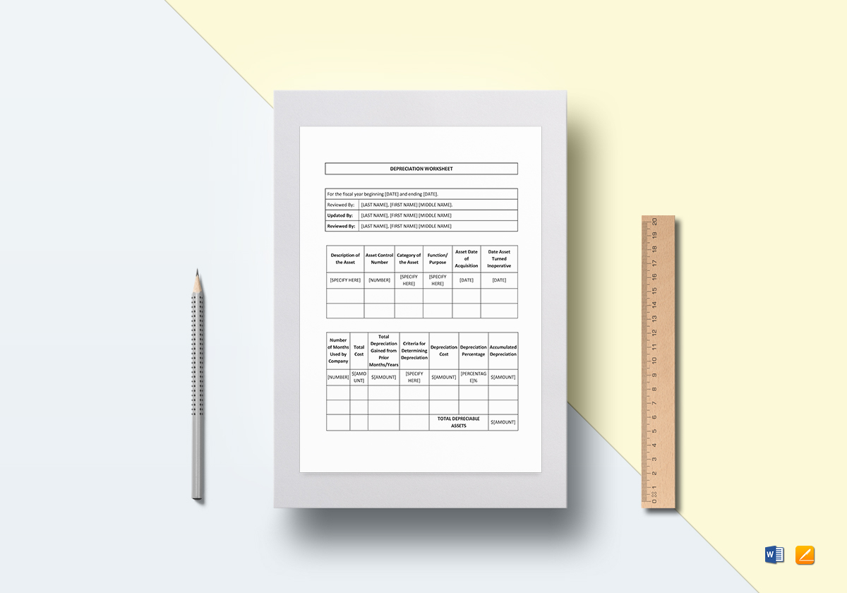 Depreciation Worksheet Template In Word Docs