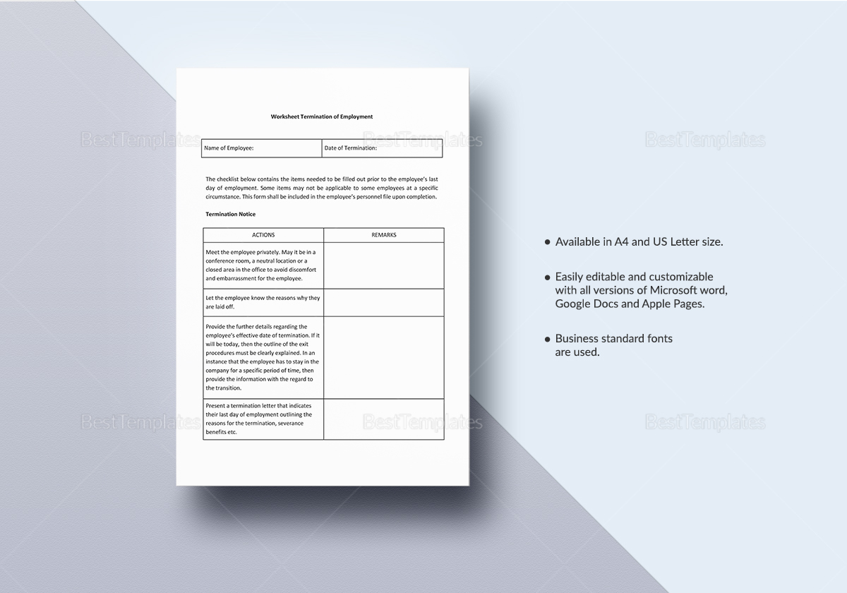 Worksheet Termination Of Employment Template In Word