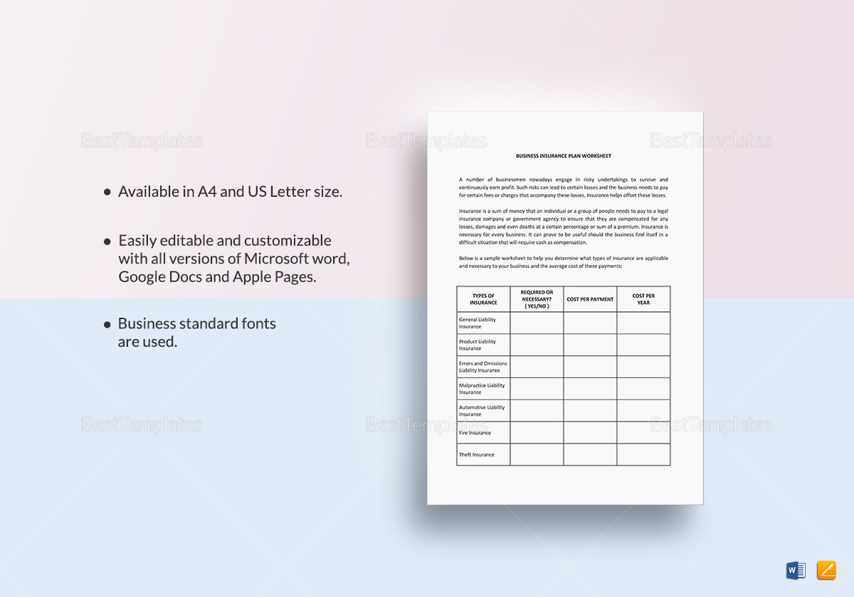 Worksheet Business Insurance Planning Template In Word