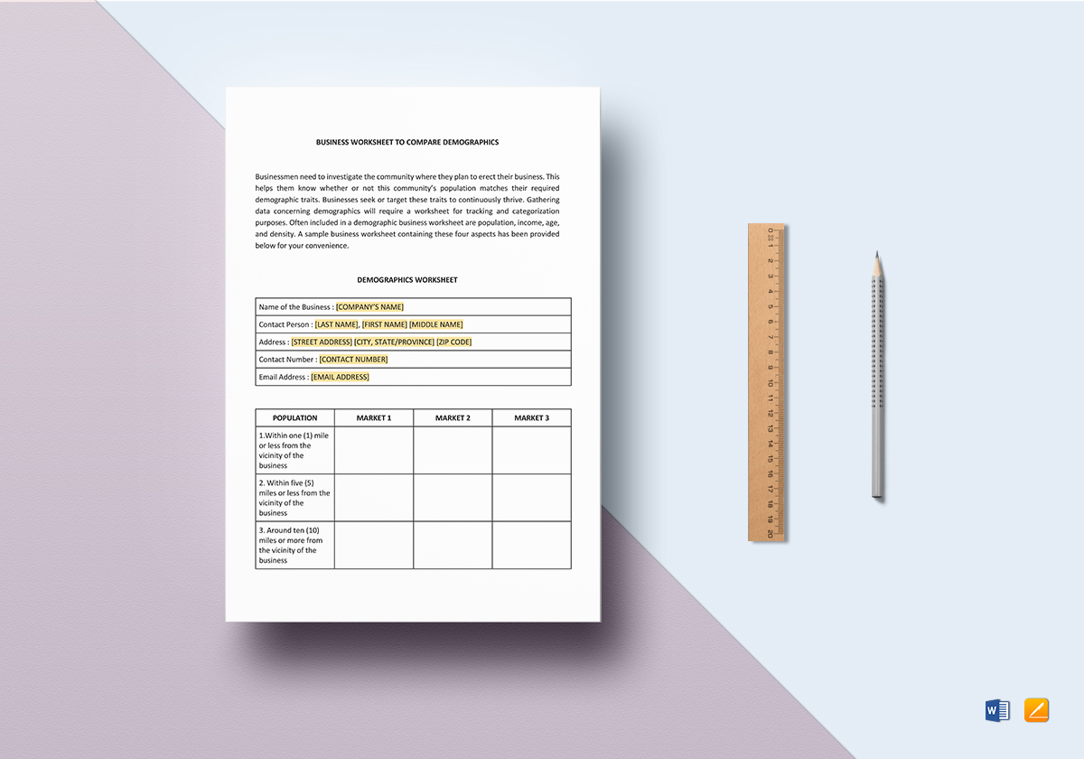 Worksheet Demographic Comparison Template In Word
