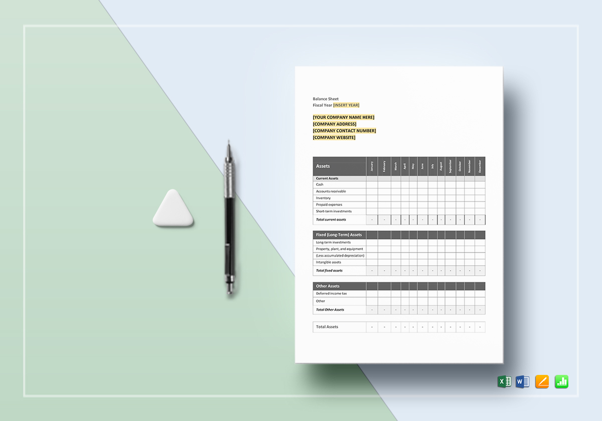 Monthly Balance Sheet Template In Word Excel Docs
