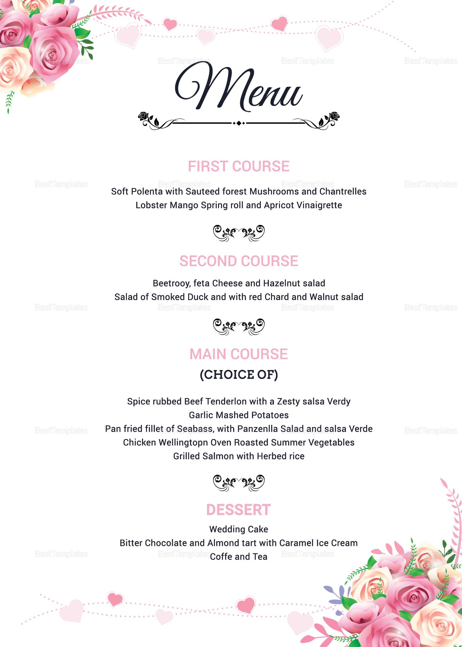 Floral Wedding Menu Invitation Design Template In Word