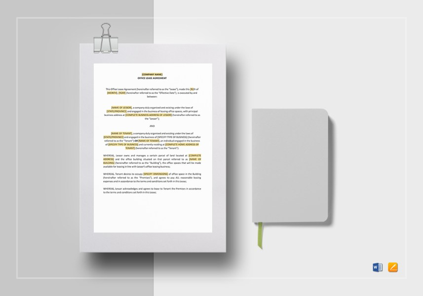 Office Lease Agreement Template in Word  Google Docs  Apple Pages Office Lease Agreement Template