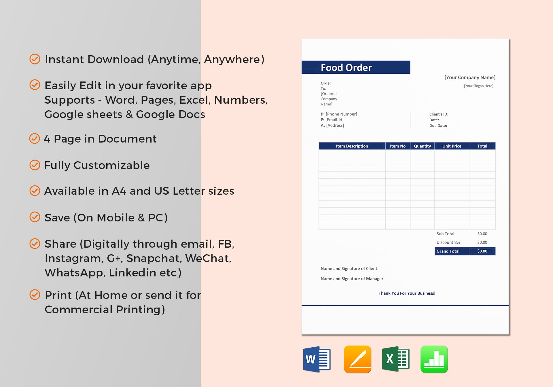 Sample Food Order Template In Word Excel Apple Pages Numbers
