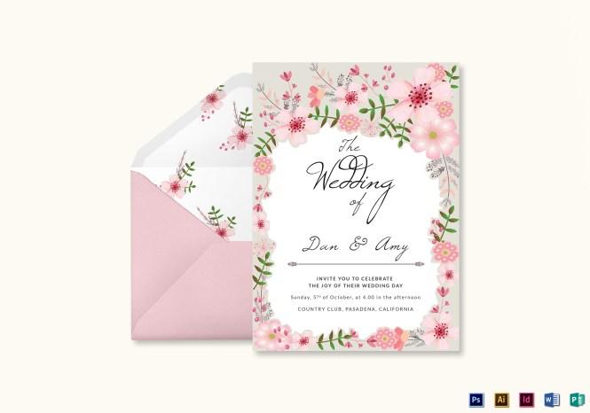 Pink Fl Wedding Invitation Card