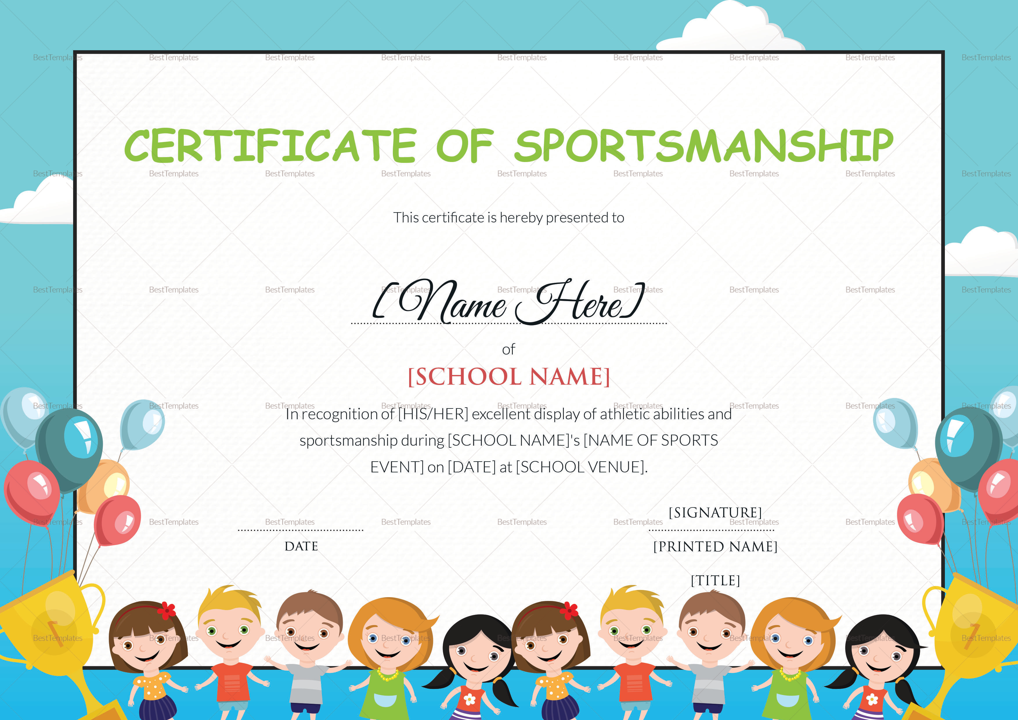 Kids Sportsmanship Certificate Design Template In Psd Word