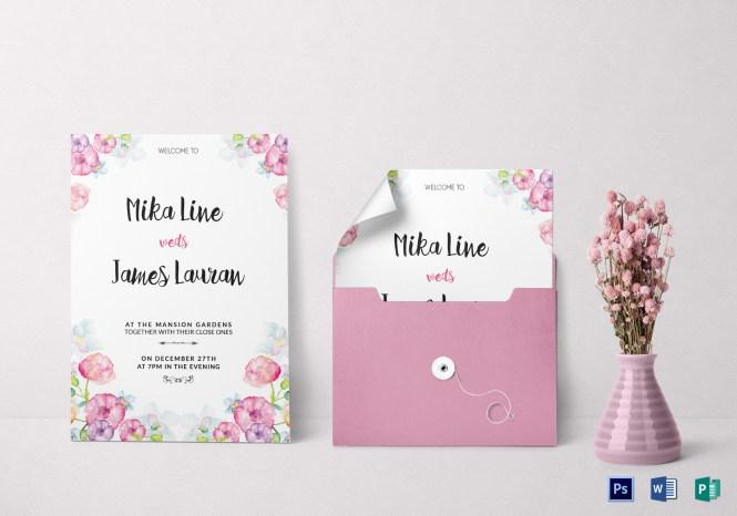 Watercolor Fl Wedding Invitation Template