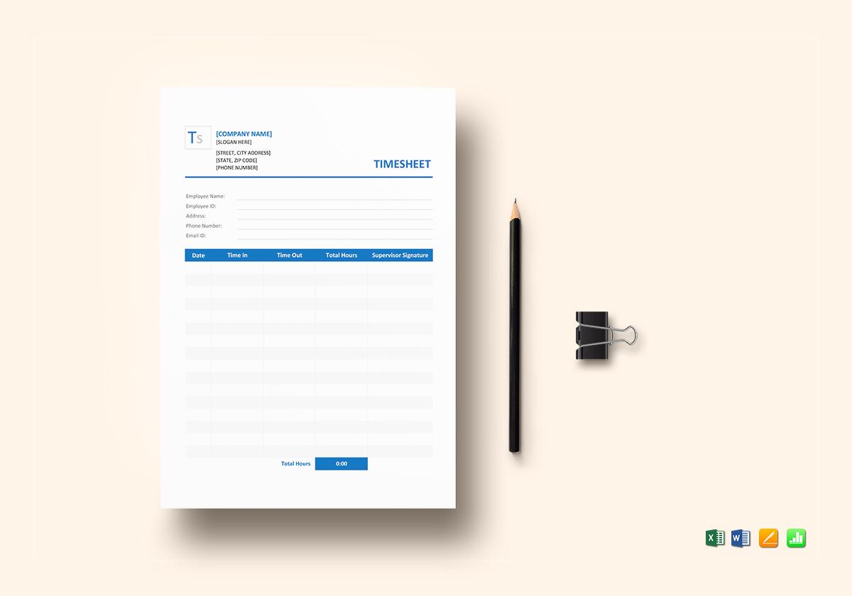 Sample Blank Timesheet Template In Word Excel Apple