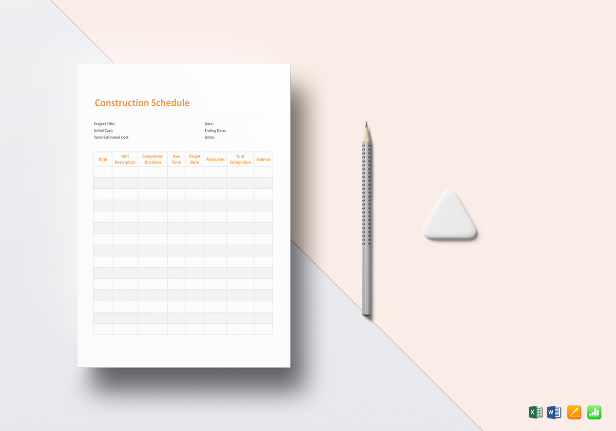 Construction Schedule Template in Word  Excel  Apple Pages  Numbers Construction Schedule Template