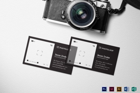 Plastic Photographer Business Card Template in PSD  Word  Publisher     Plastic Photographer Business Card Template