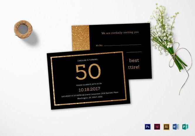 50th Birthday Invitation Card Template