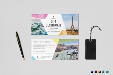 Travel Gift Certificate Design Template in PSD  Word  Publisher     Travel Gift Certificate Template