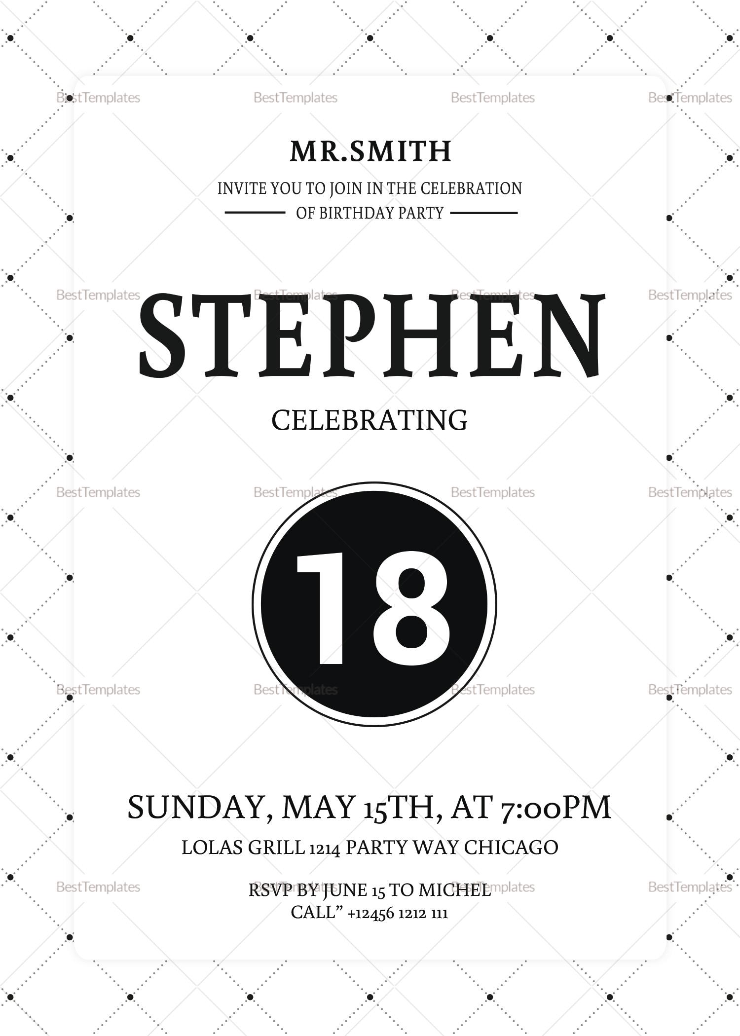 18th birthday party invitation design