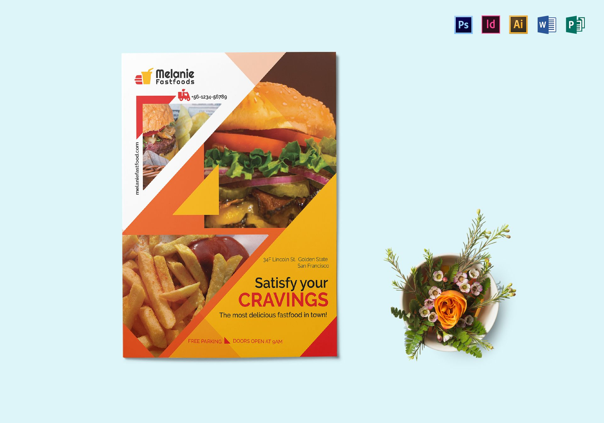 Delicious Fast Food Flyer Design Template In Psd Word