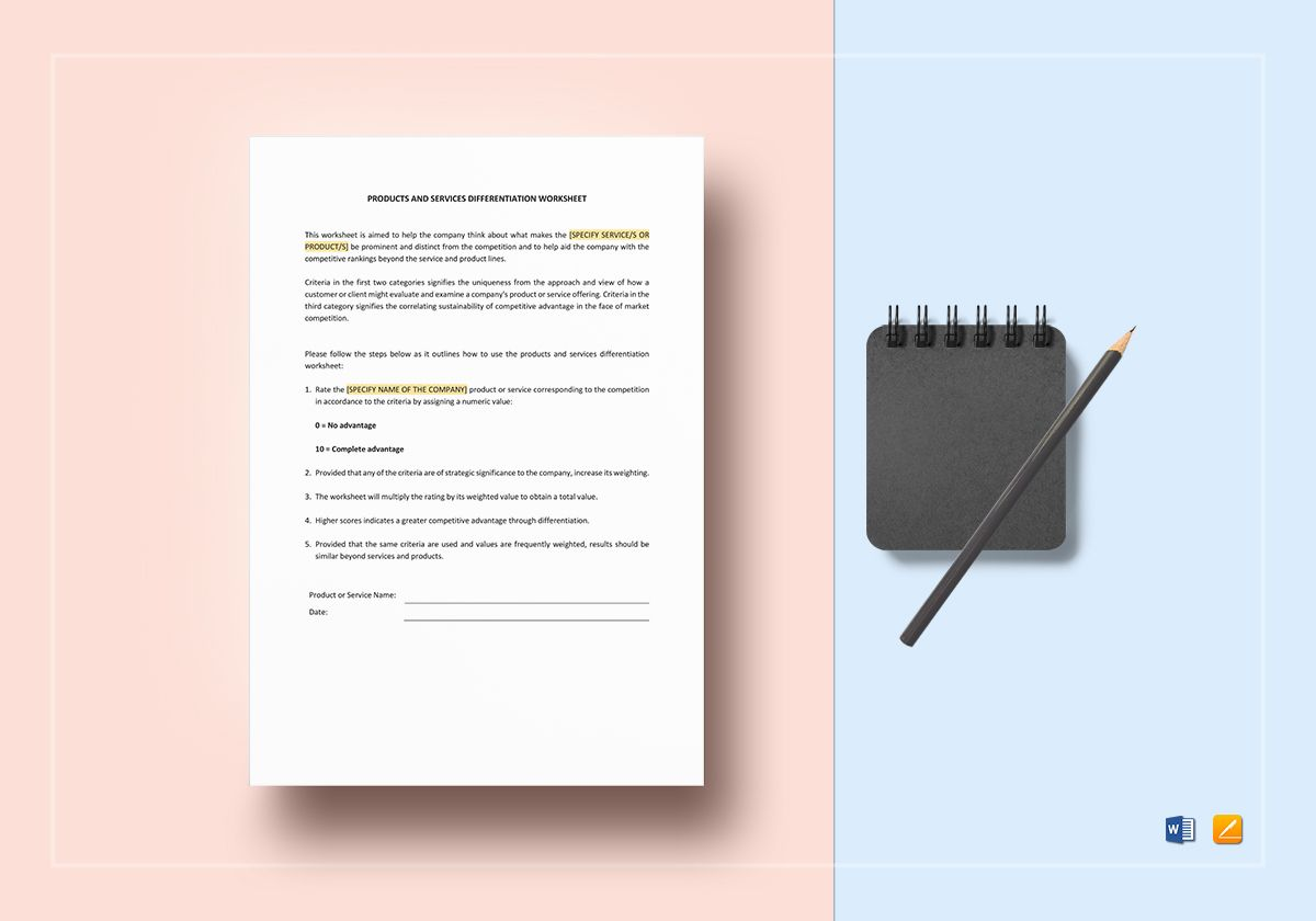 Products And Services Differentiation Worksheet Template In Word Apple Pages