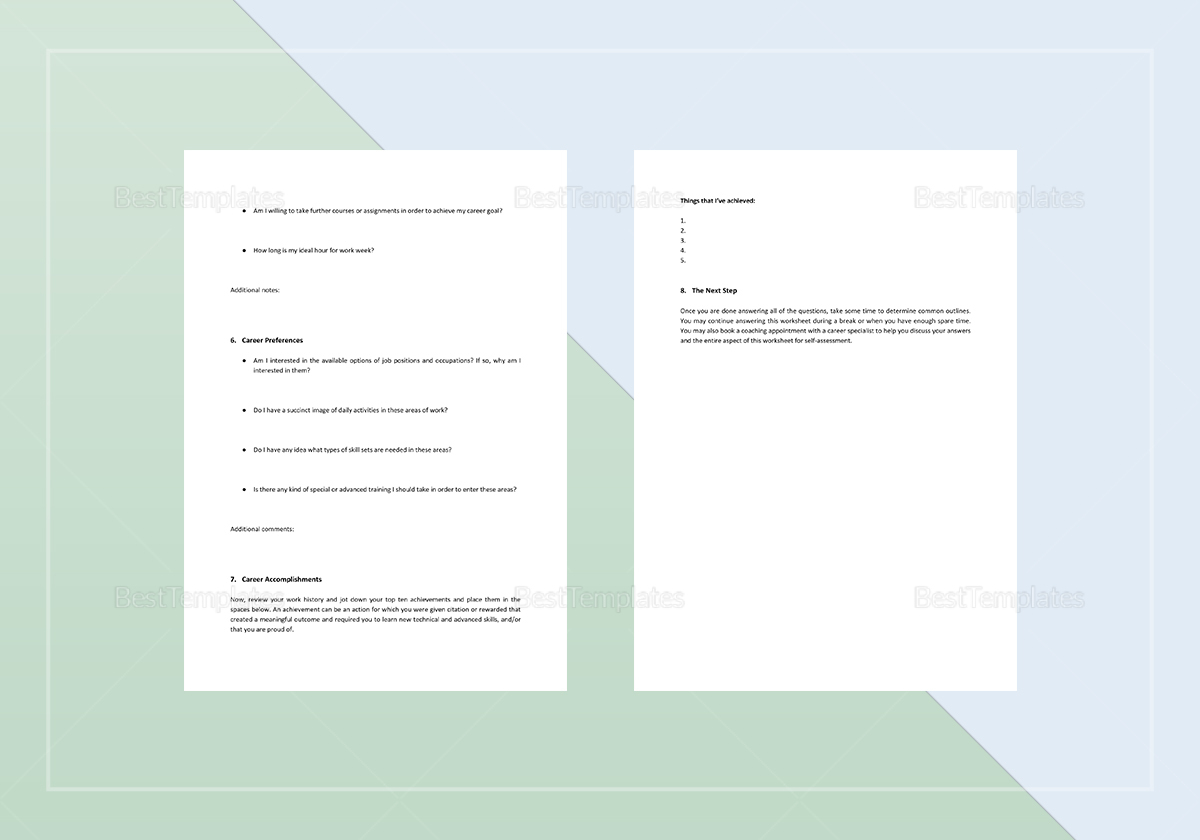 Worksheet Self Assessment Template In Word Apple Pages