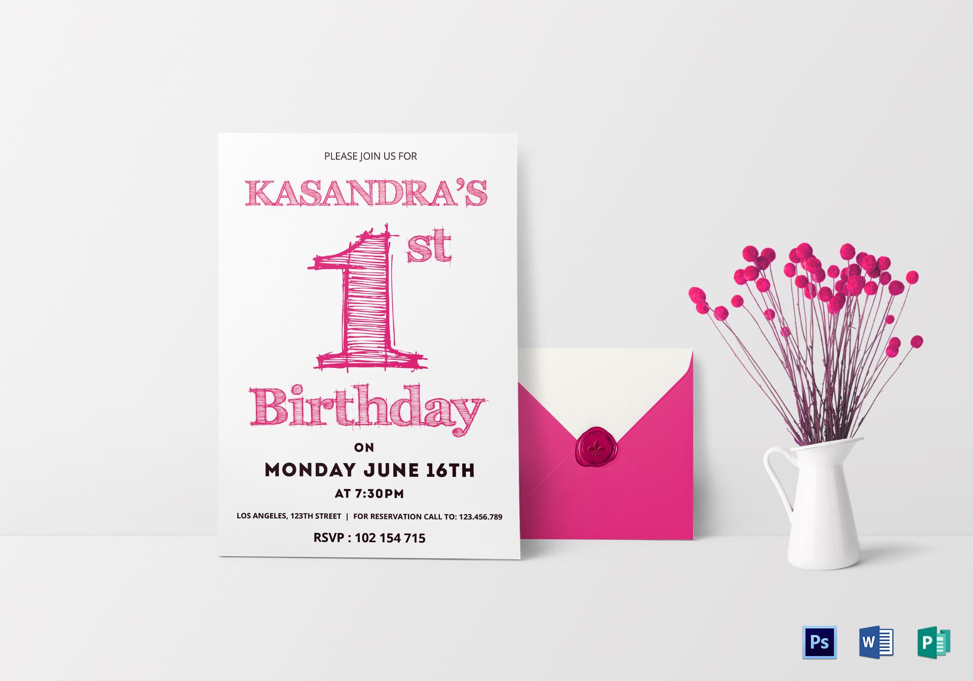 1st birthday party invitation card