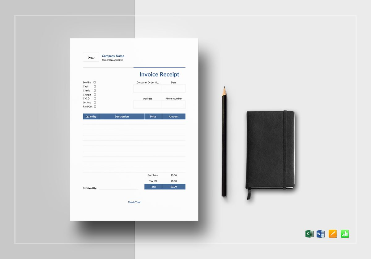 Invoice Receipt Template in Word  Excel  Apple Pages  Numbers Invoice Receipt Template