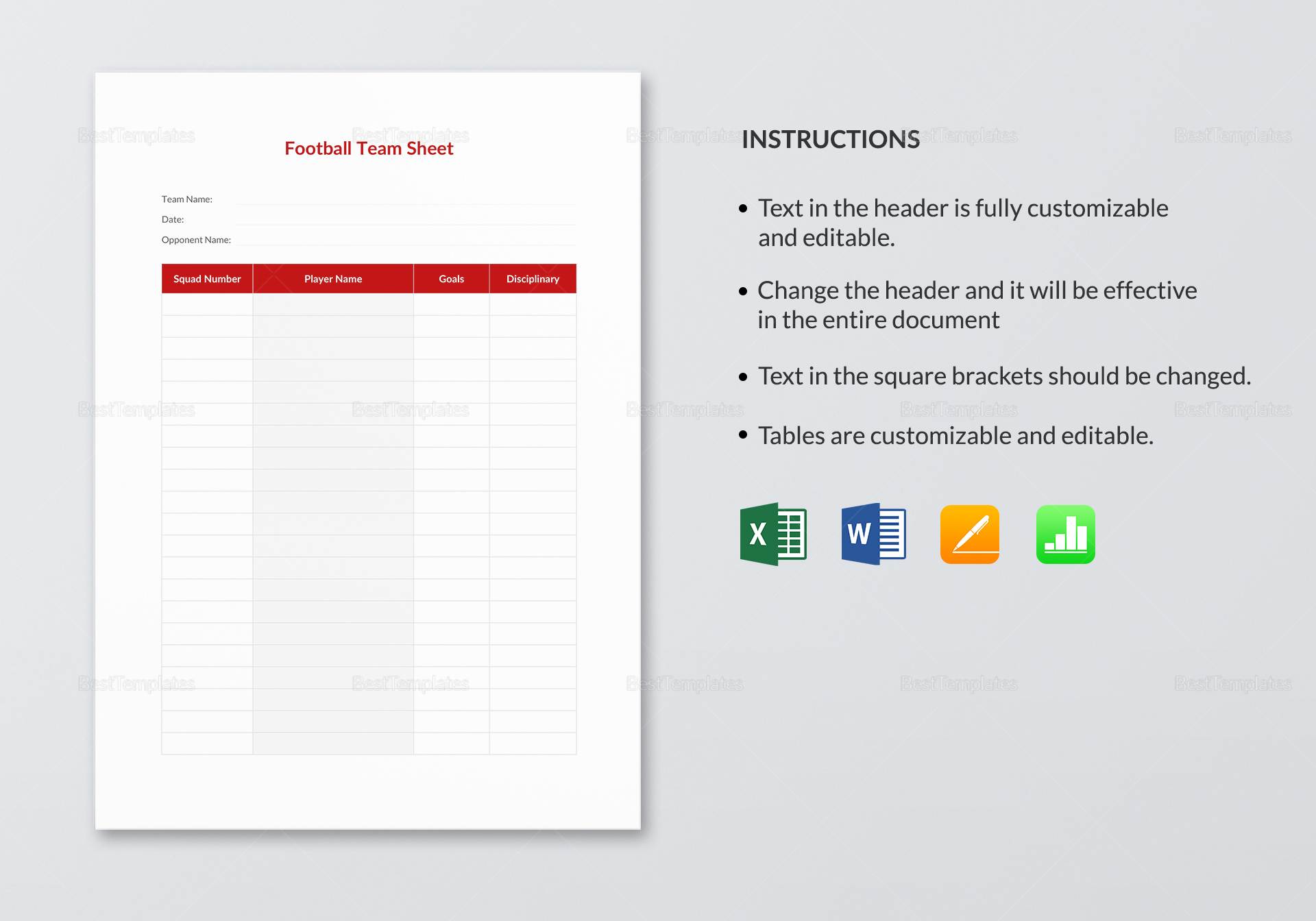 Football Team Sheet Template In Word Excel Apple Pages