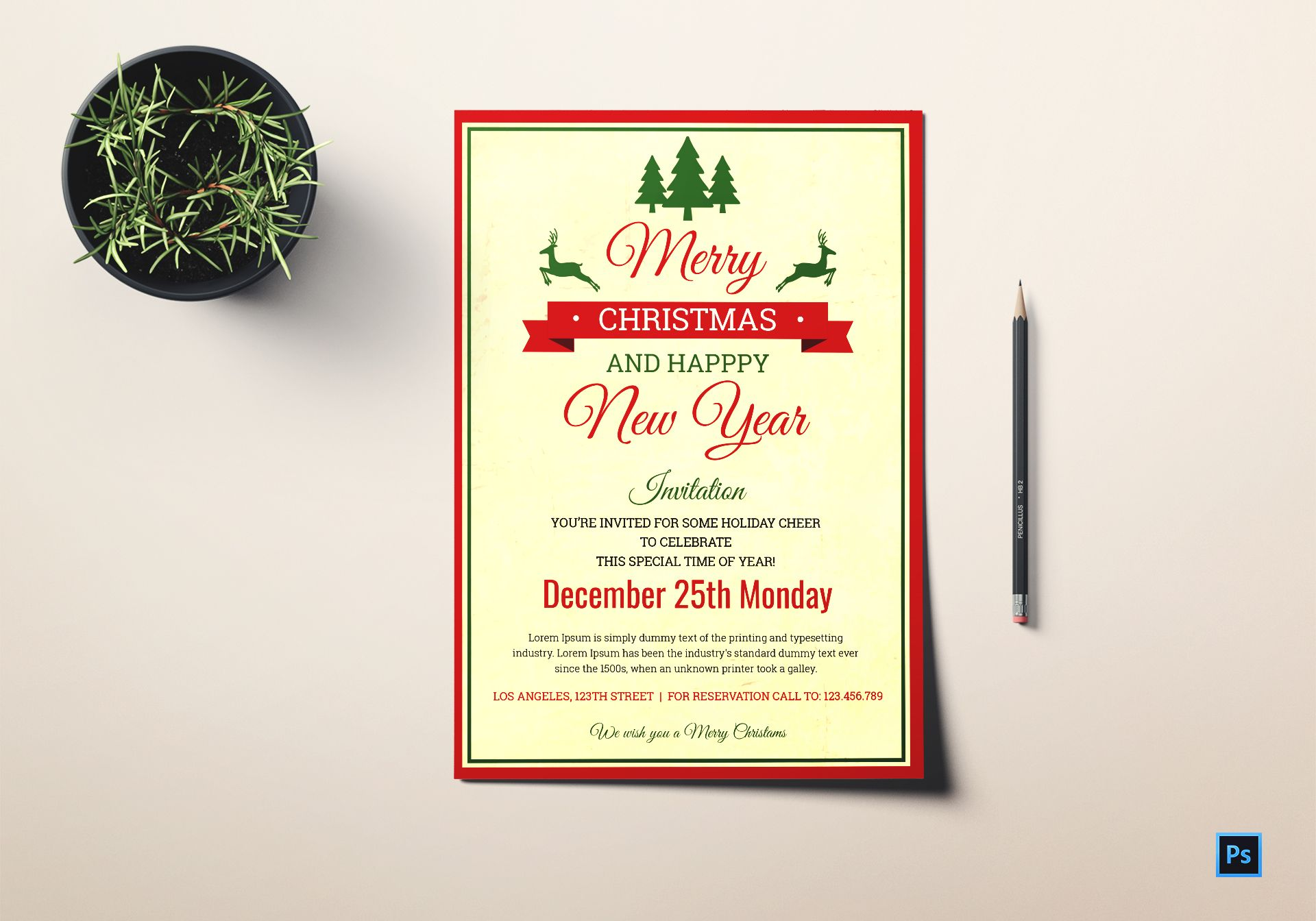 Christmas and New Year invitation Template in Adobe Photoshop Christmas and New Year invitation