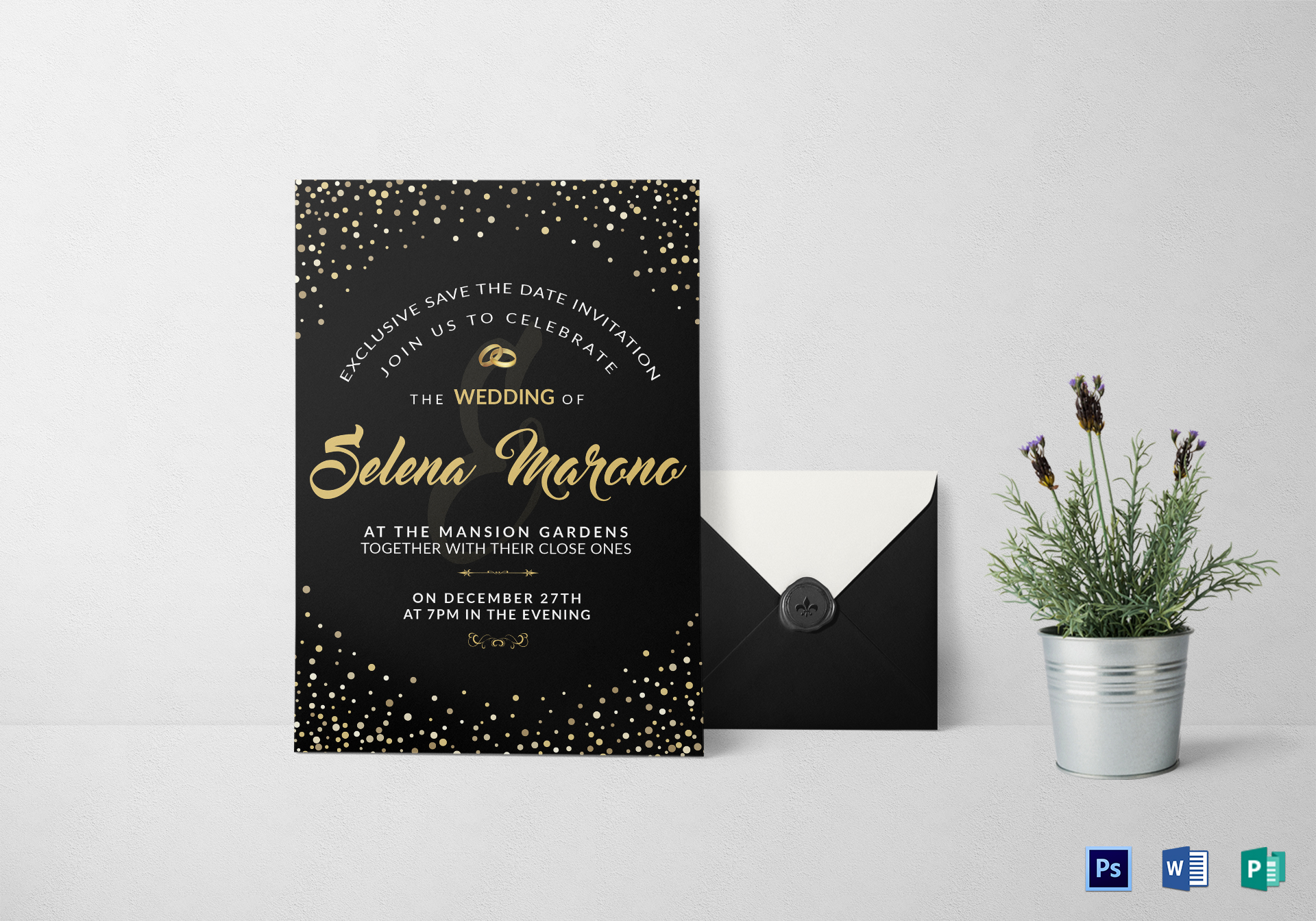 black and gold wedding invitation card