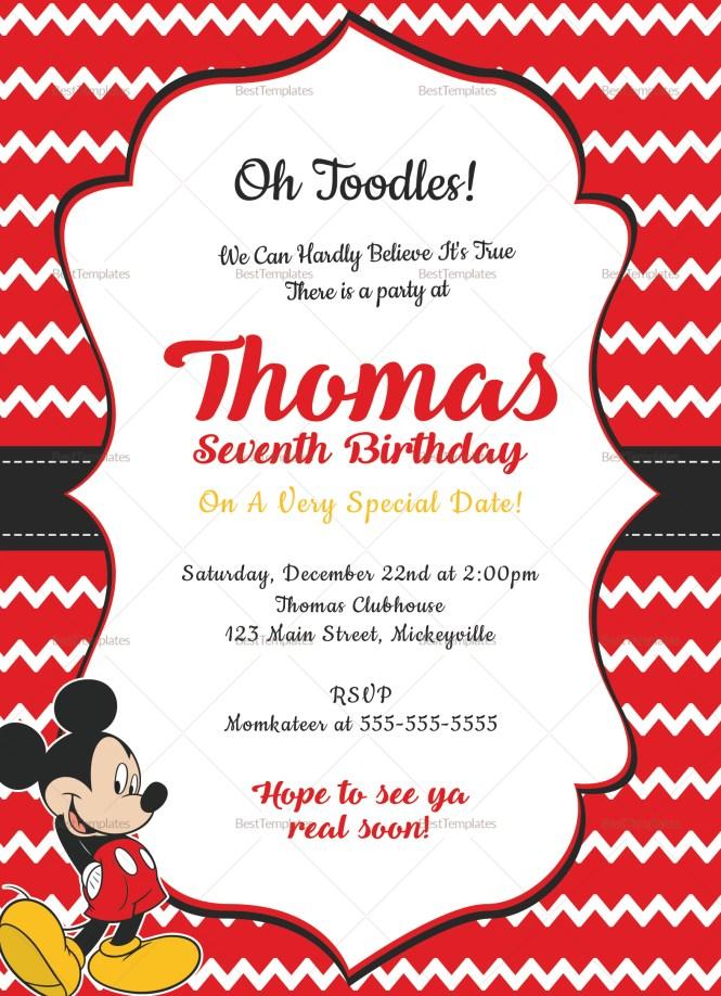 Editable Mickey Mouse Birthday Invitation Card Design Template