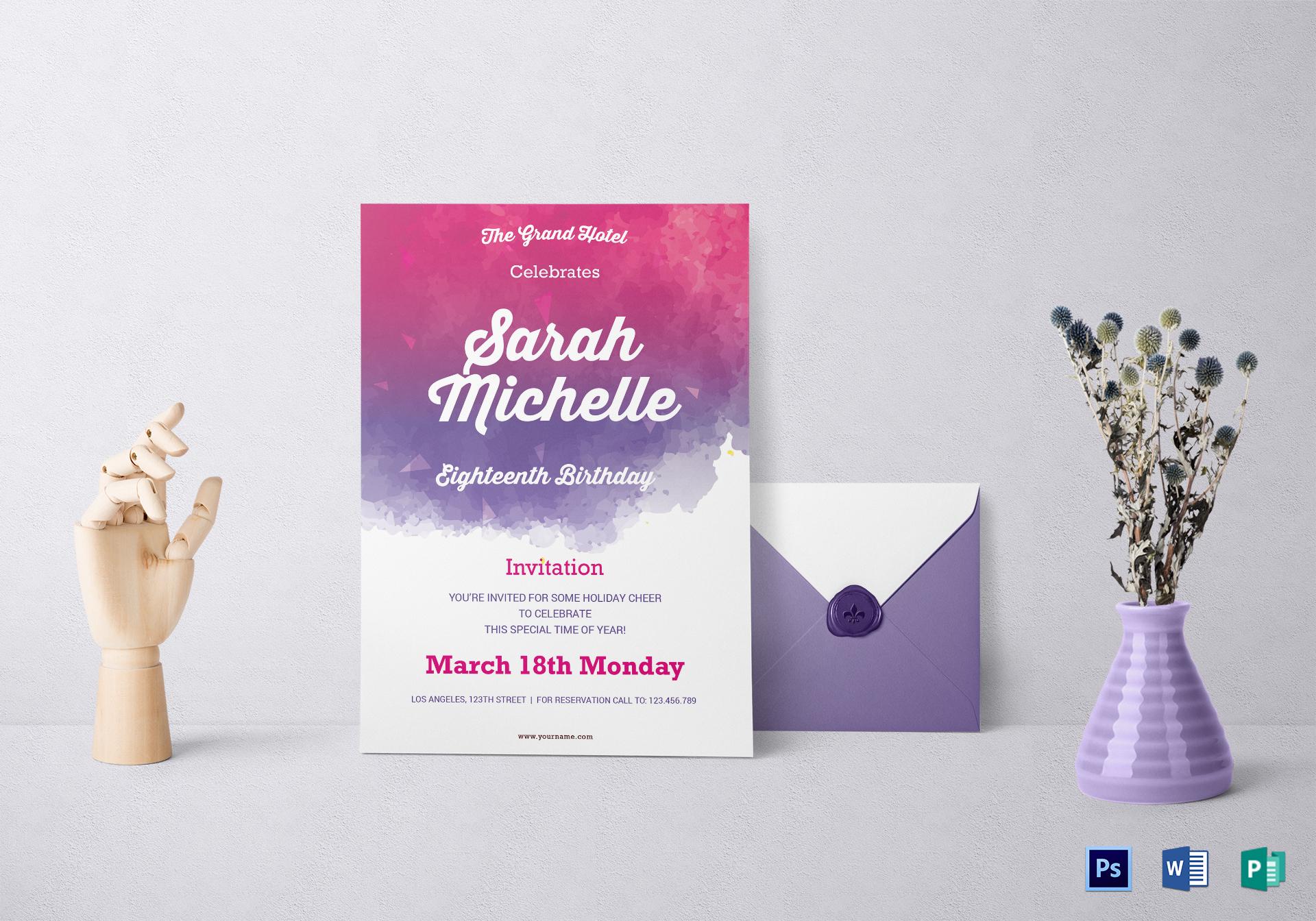 watercolor debut invitation design