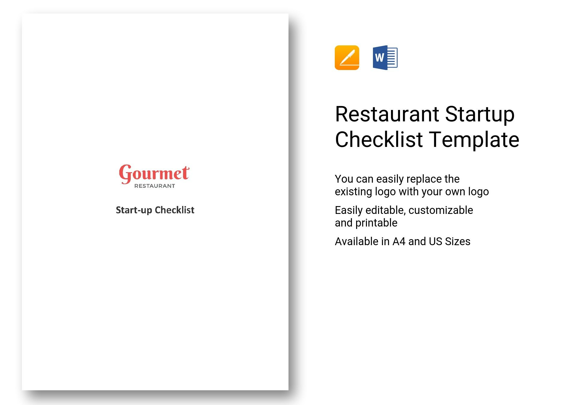 Restaurant Startup Checklist Template In Word Apple Pages