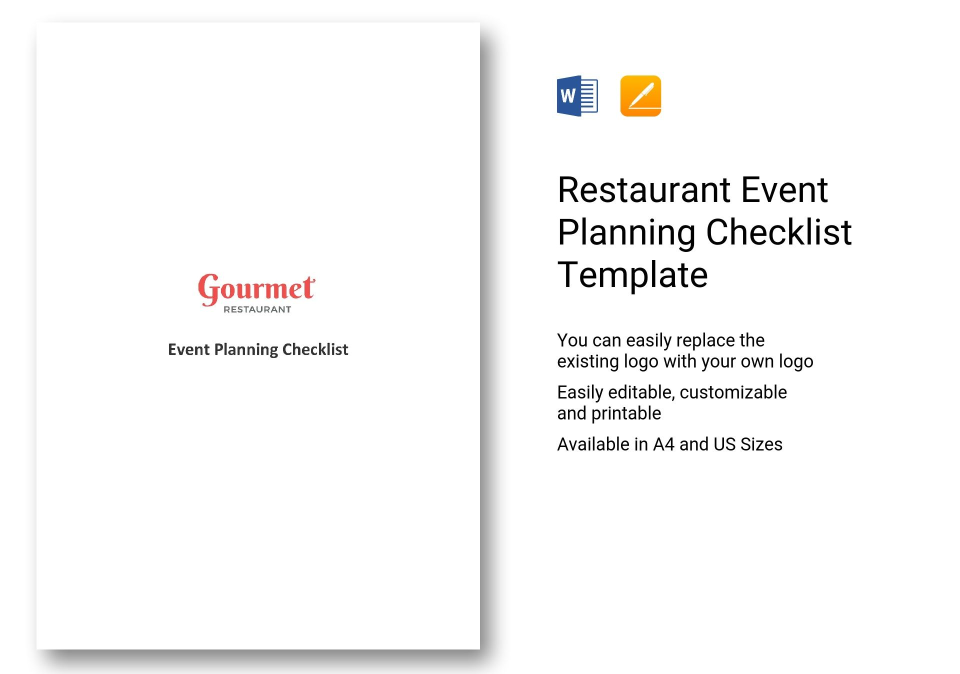 Restaurant Event Planning Checklist Template In Ms Word Pages